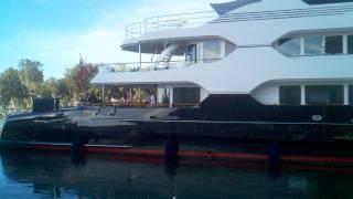 Mega-yacht docking.
