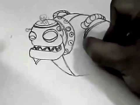 como dibujar al robot de plantas  YouTube
