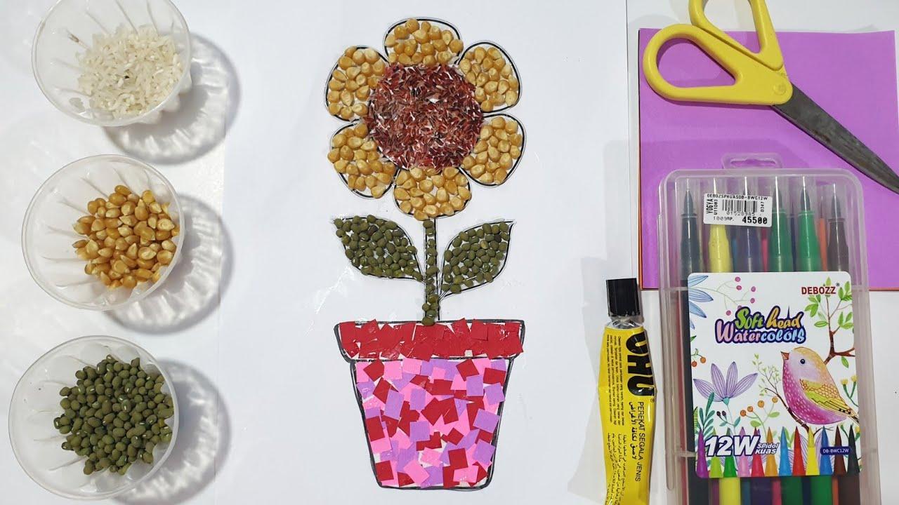 Membuat Kolase Dari Biji Bijian Dan Kertas Origami Kolase Bunga Matahari Youtube