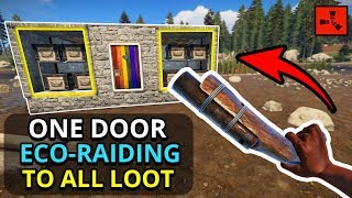 ECO-RAIDING Loaded Bases With ONE DOOR TO MAIN LOOT! - Rust Custom Map Survival Ep3