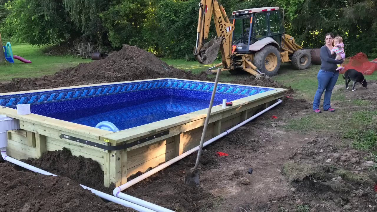 DIY Wood In ground Swimming Pool - YouTube