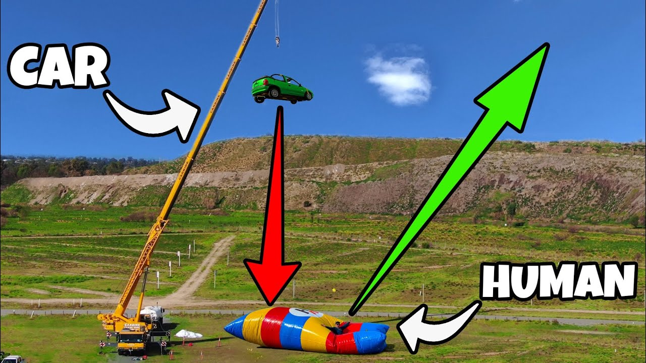 INSANELY HIGH BLOB LAUNCH! Car Dropped From 150ft