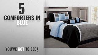 Top 10 ComfortersIn Blue [2018]: 7 Piece Luxury Bed in bag Comforter Set - Closeout (Cal King,