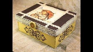 + Бонус! Мастер класс по декупажу для начинающих №51 - декупаж картонной коробки из-под обуви +