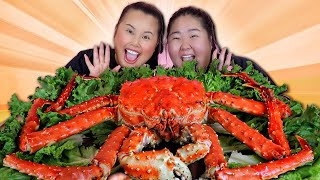 GIANT 10 POUND WHOLE KING CRAB SEAFOOD BOIL MUKBANG 먹방 EATING SHOW!
