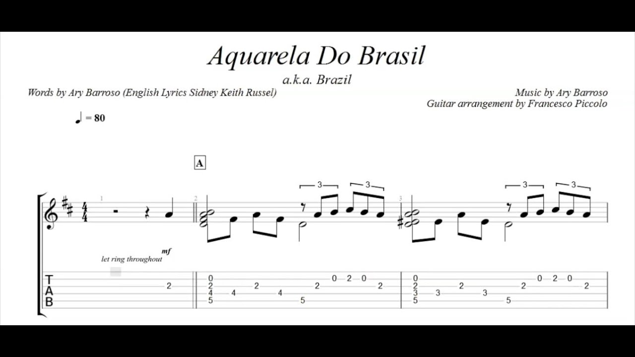 Fingerstyle Guitar Aquarela Do Brasil From Latin Collection Nr
