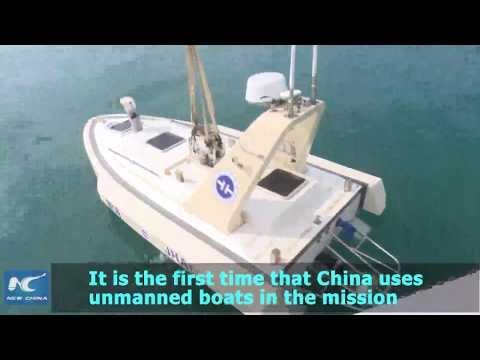 Unmanned boats on geological survey of China's coastline