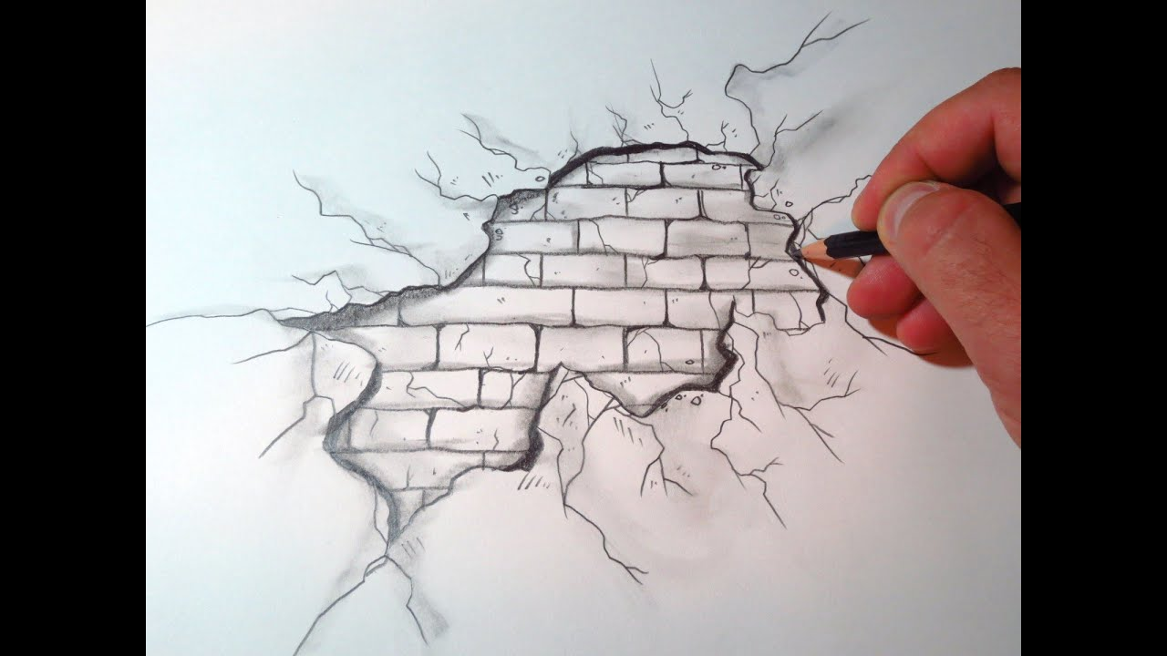 How To Draw A Cracked Brick Wall (The Original Video ...