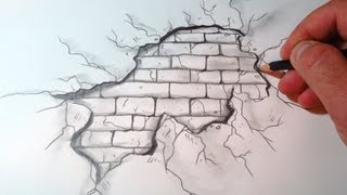 How To Draw A Cracked Brick Wall (The Original Video)