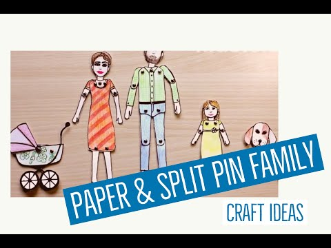 How to make the entire family by using paper and split pins (paper fasteners).
