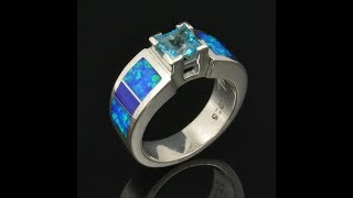 Lab Opal Ring with Lapis and Blue Topaz