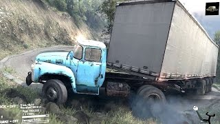 spintires 2014 the hill map b 130 truck tent trailer uphill driving fail