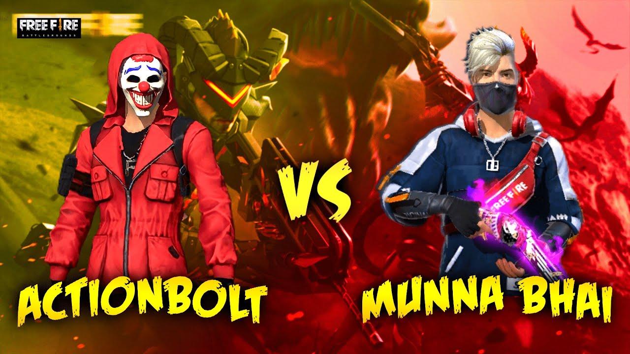 ACTIONBOLT VS MUNNA BHAI - 1 Vs 1 -OP Headshots - Must Watch - Free Fire Telugu - Munna Bhai Gaming