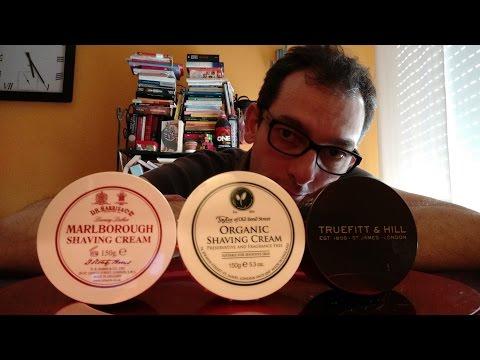Confronto tra creme inglesi - DR Harris Marlborough, Taylor Organic, Truefitt and Hills No.10