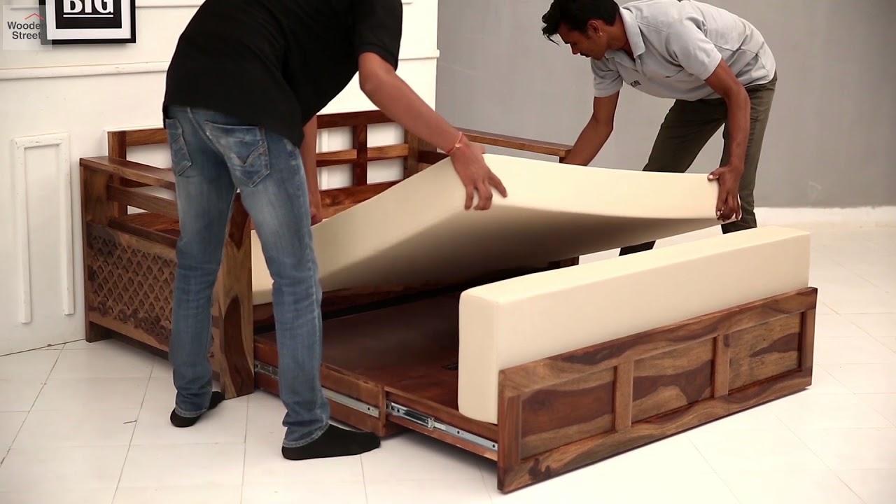 Sofa Cum Bed Buy Queen Size Vigo Sofa Cum Bed Online In Teak Finish