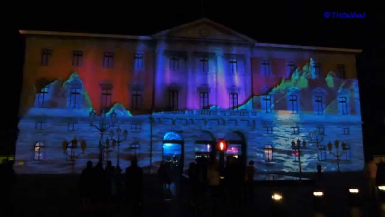noel 2014 annecy son et lumiere facade mairie youtube