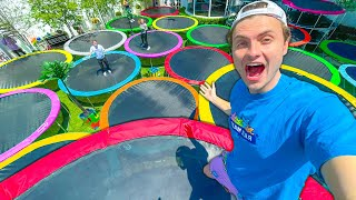 I PUT 30 TRAMPOLINES IN MY BACKYARD!! (DIY Trampoline Park)