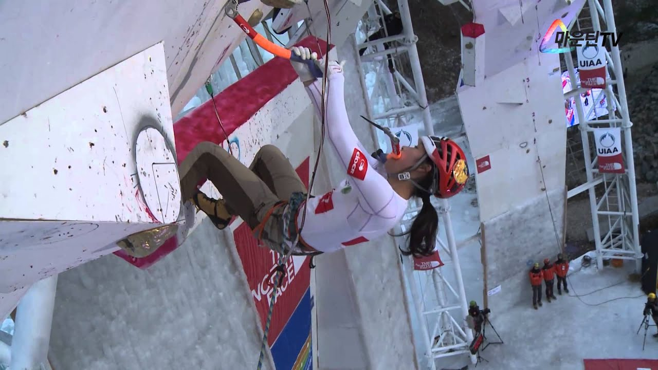 UIAA ICE CLIMBING WORLD CUP 2015 in CHEONGSONG LEAD WOMAN SONG HANARAI (KOR)