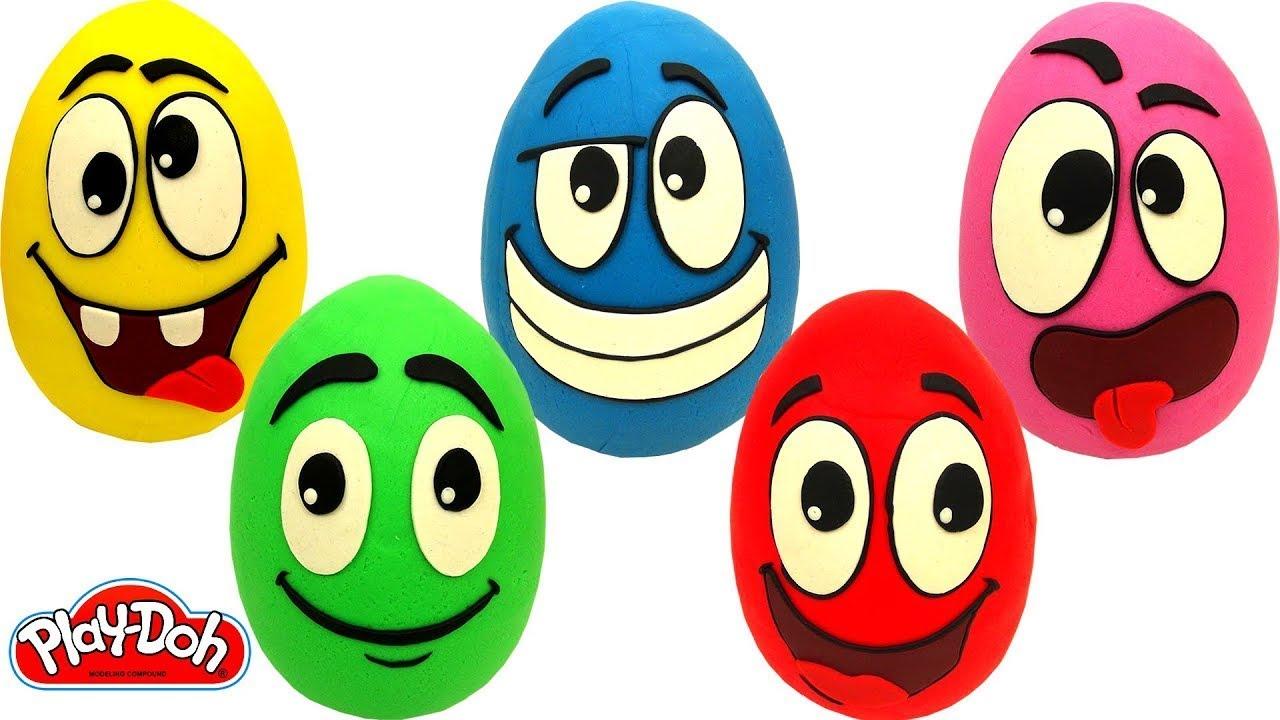 Aprenda Cores com 5 Ovos Surpresas de Carinhas Engraçadas em Português Brasil de Massinha Play Doh
