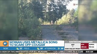 Woman uses Metallica song to scare off cougar