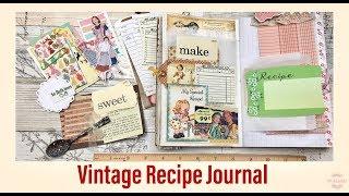 Vintage Recipe Journal - Junk Journal Notebook