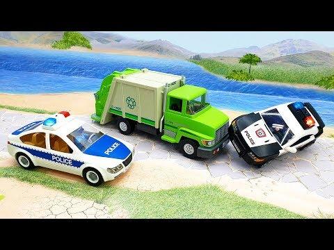 Полицейские машины и мусоровоз - Сообразительный мусорщик!  погоня за мусоровозом