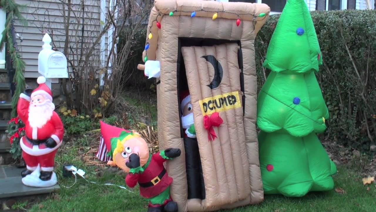 boddy cahill christmas animated embarrassed outhouse santa elf inflatable airblown youtube - Blow Up Christmas