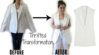 Thrifted Transformation:Sleeveless Jacket (Topshop Inspired)