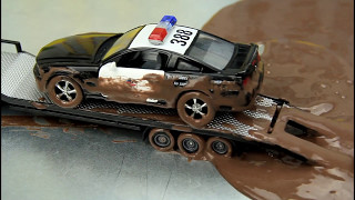 Police Cars vs Street Racer The Police Cars Stuck in the Mud & Car Wash Video For Kids thumbnail