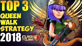 TOP 3 TH9 BEST QUEEN WALK WAR ATTACK STRATEGY 2018 | Clash of Clans