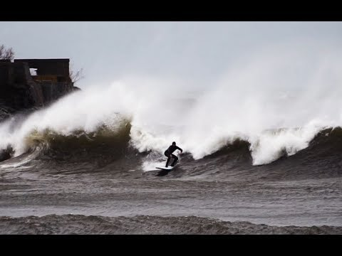 SURFING MASSIVE STORM WAVES ON LAKE SUPERIOR!!!