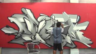 Graffiti piece #6 wildstyle time lapse - Pensil beside Mistery and Meak at the street university