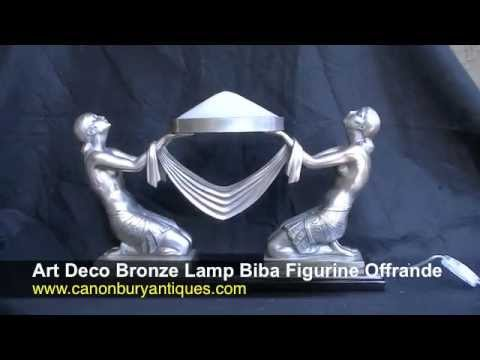 Art Deco Bronze Lamp Biba Figurine Offrande
