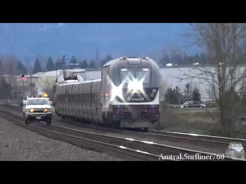Amtrak & BNSF trains in Sumner, Washington (Warning: bad re-sampling)