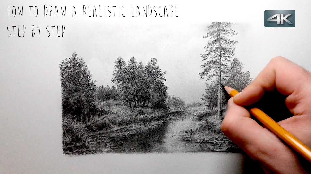 how to draw a realistic landscape step by step youtube