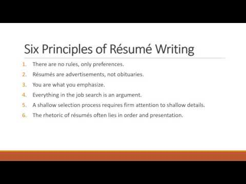 Professional Communication - Resume Writing 101