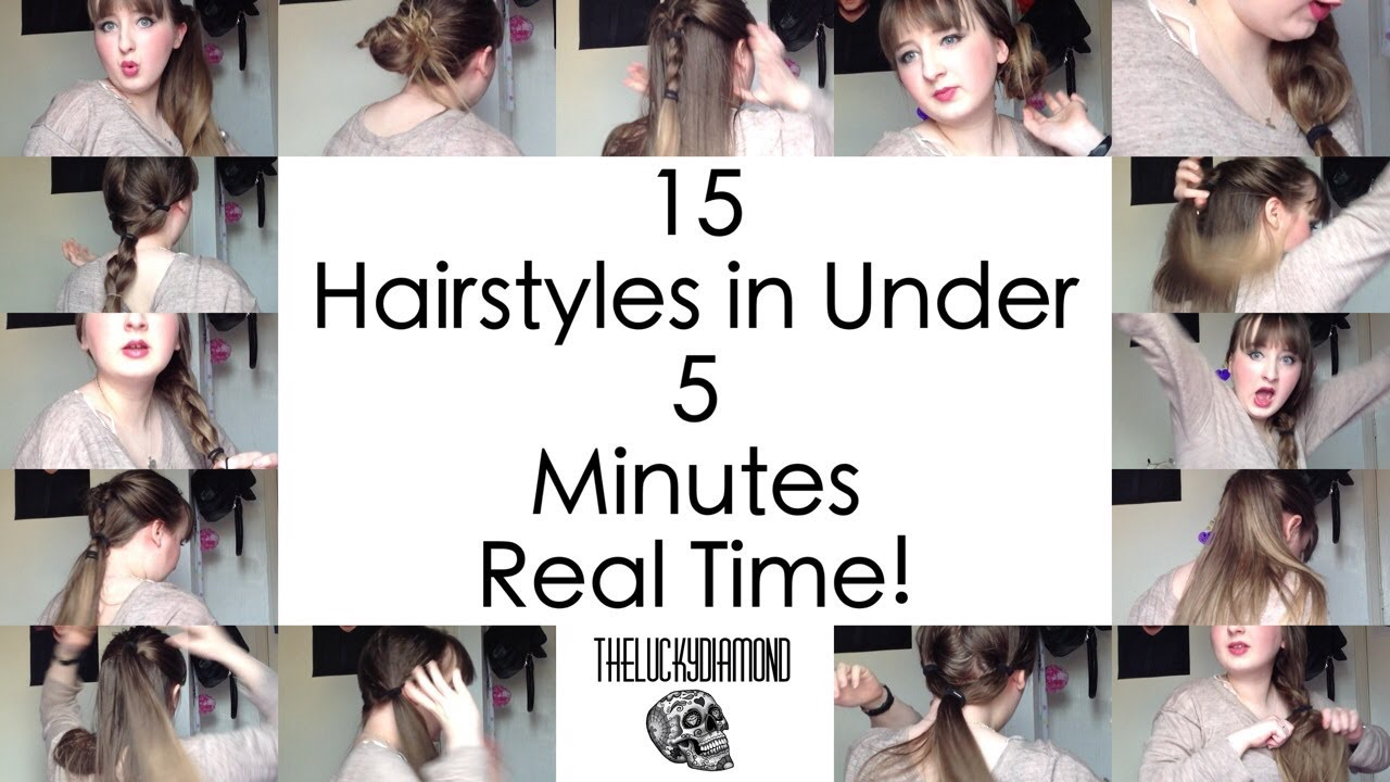 5 Minute Hairstyles For Girls 15 Quick And Easy Hairstyles In Under 5 Minutes Real Time Youtube
