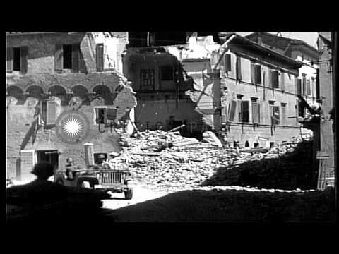 Wrecked Town Of Buonconvento In Italy After Heavy Allied Bombings In Buonconvento...HD Stock Footage