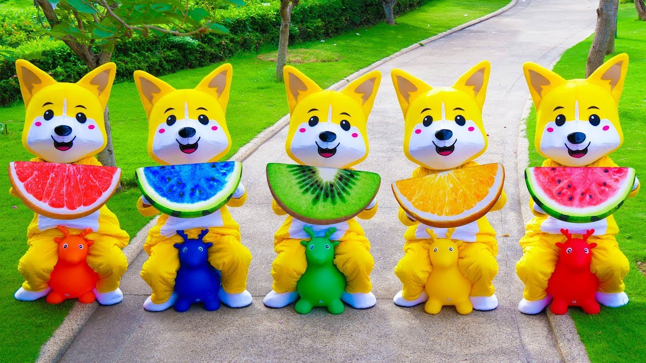 Learn Fruits with Five Little Babies Jumping On The Bed Educational Video Song for Kids