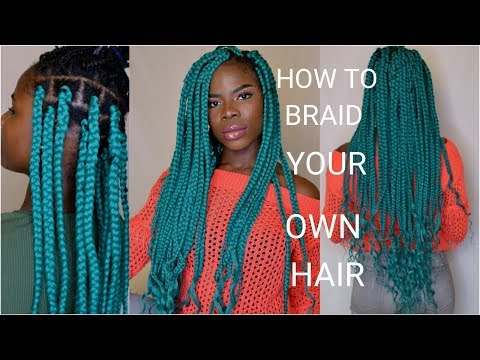 HOW TO: TUCK METHOD BOX BRADS ON YOUR OWN HAIR | LONG GODDESS  BOX BRAIDS TUTORIAL | Vivian