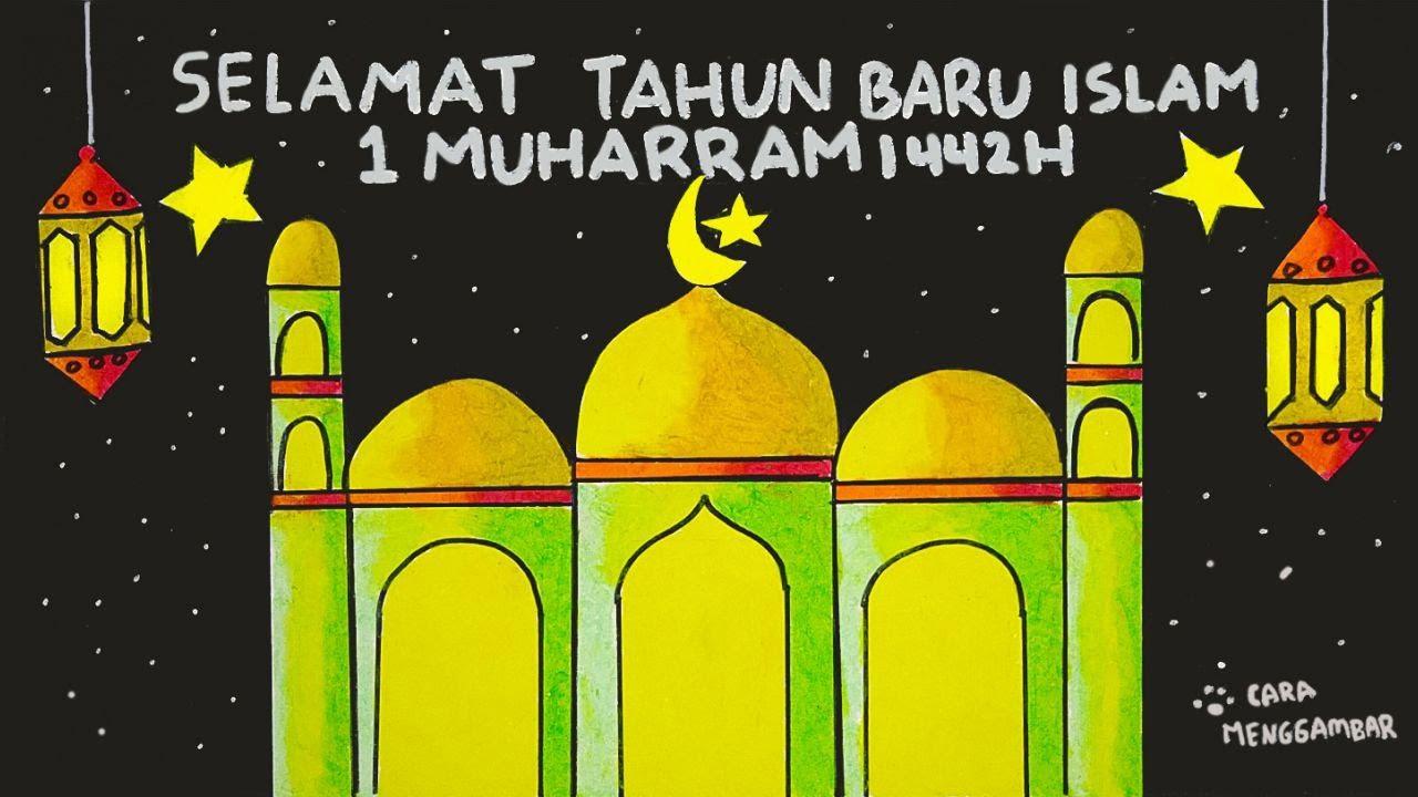 Cara Menggambar Membuat Kartu Ucapan Selamat Tahun Baru Islam 1 Muharram 1442h Ep 220 Youtube