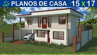 Planos Diseños Casa Dos Piso Garaje 4 Cuartos Dos Salas