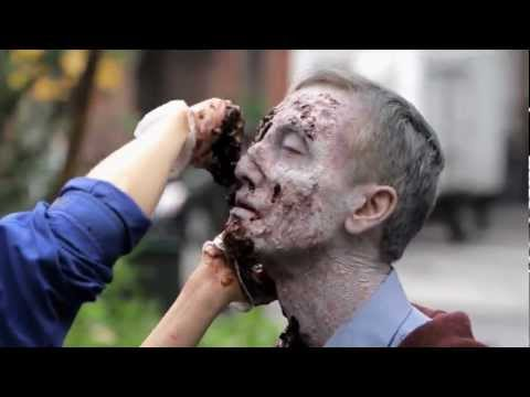 Clint August - Zombie Experiment NYC The Makeup Is Very Well Done