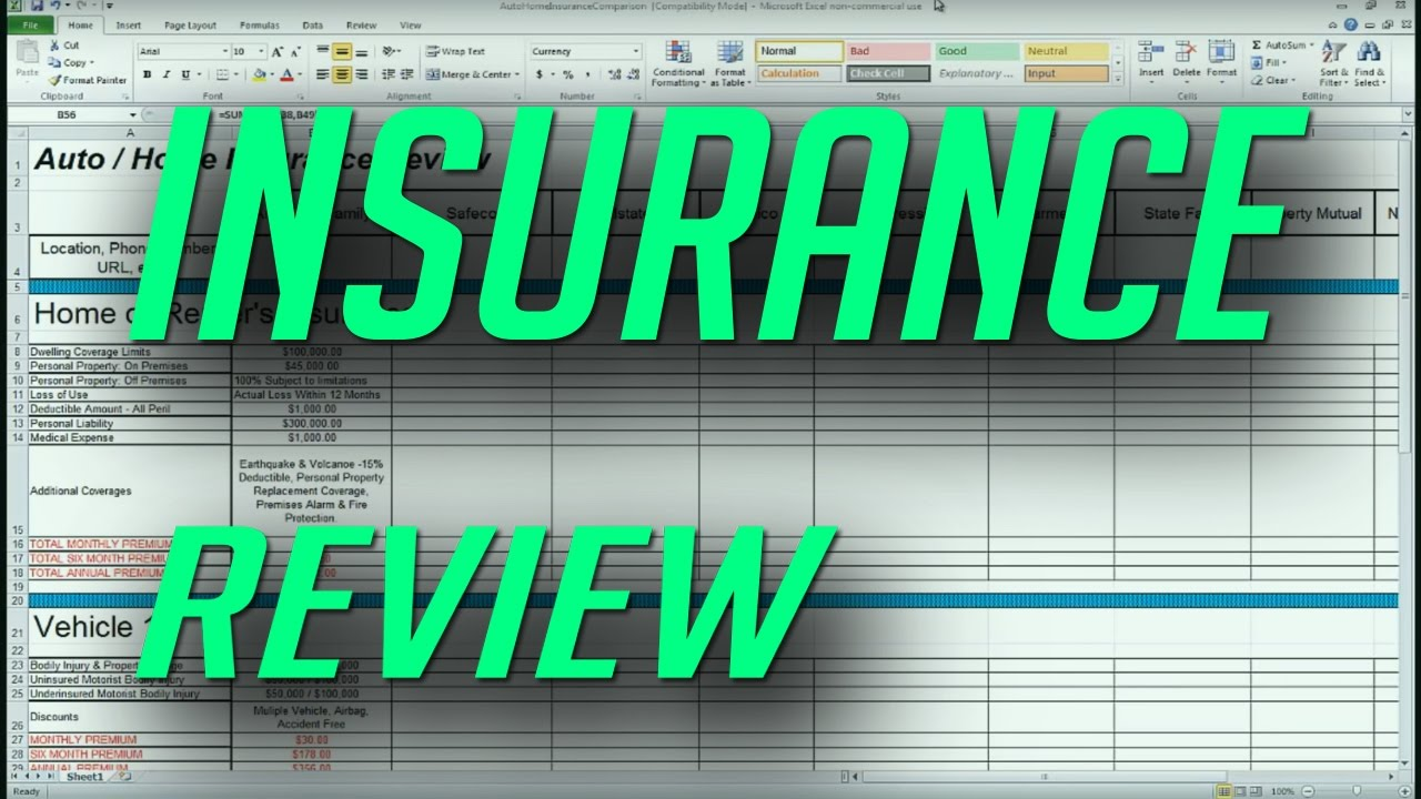 Auto and Home Insurance Comparison Review Spreadsheet - YouTube