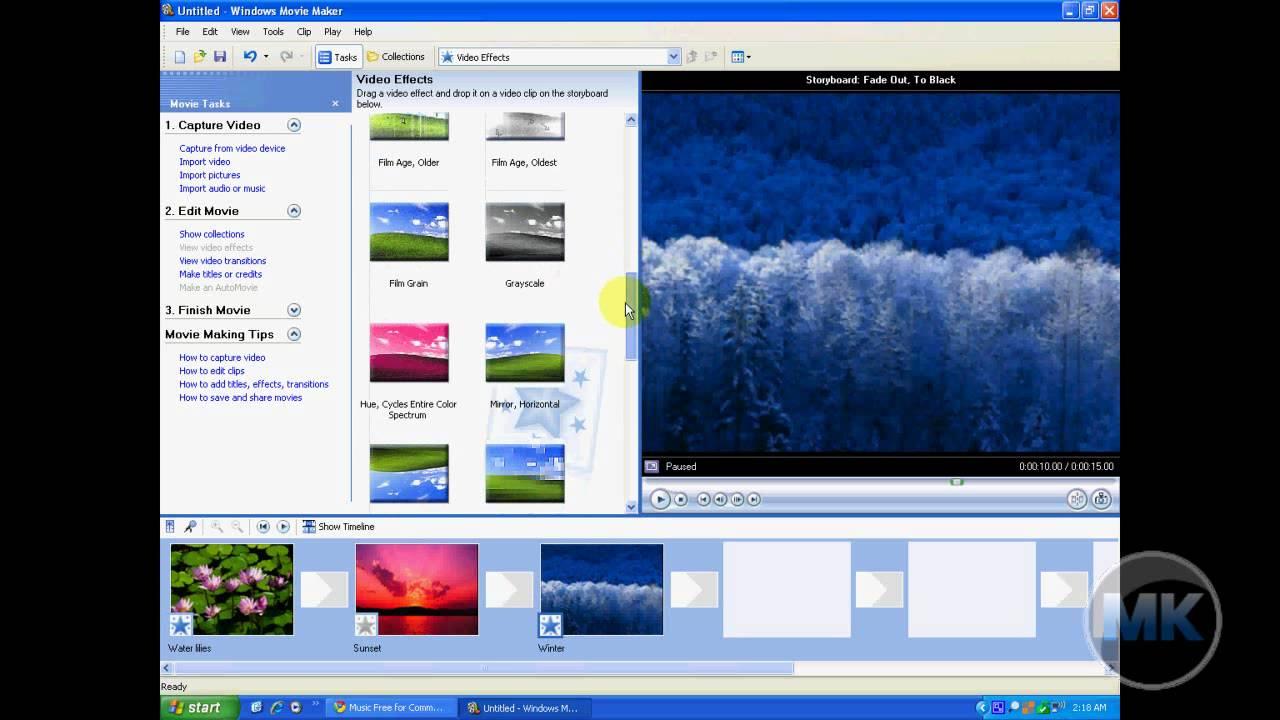 windows xp movie maker add video effects youtube