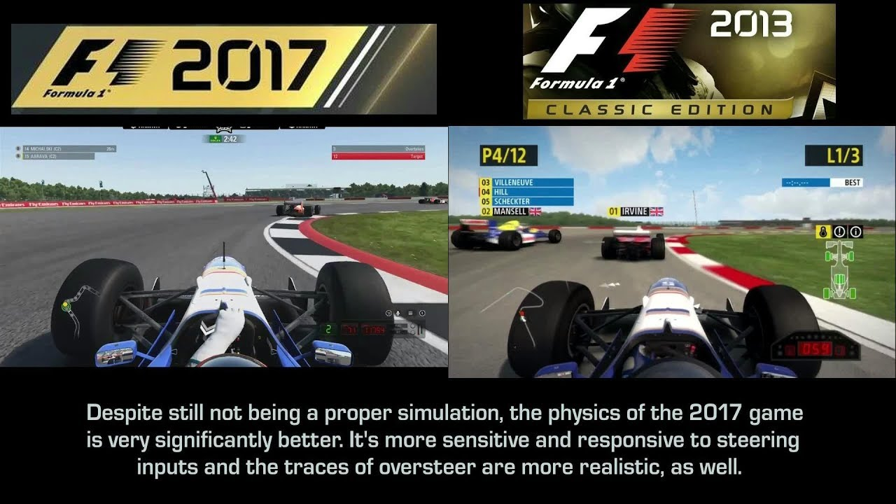 graphics 39 and physics 39 evolution on codemasters 39 f1 2013 and f1 2017 with the 1996 williams. Black Bedroom Furniture Sets. Home Design Ideas