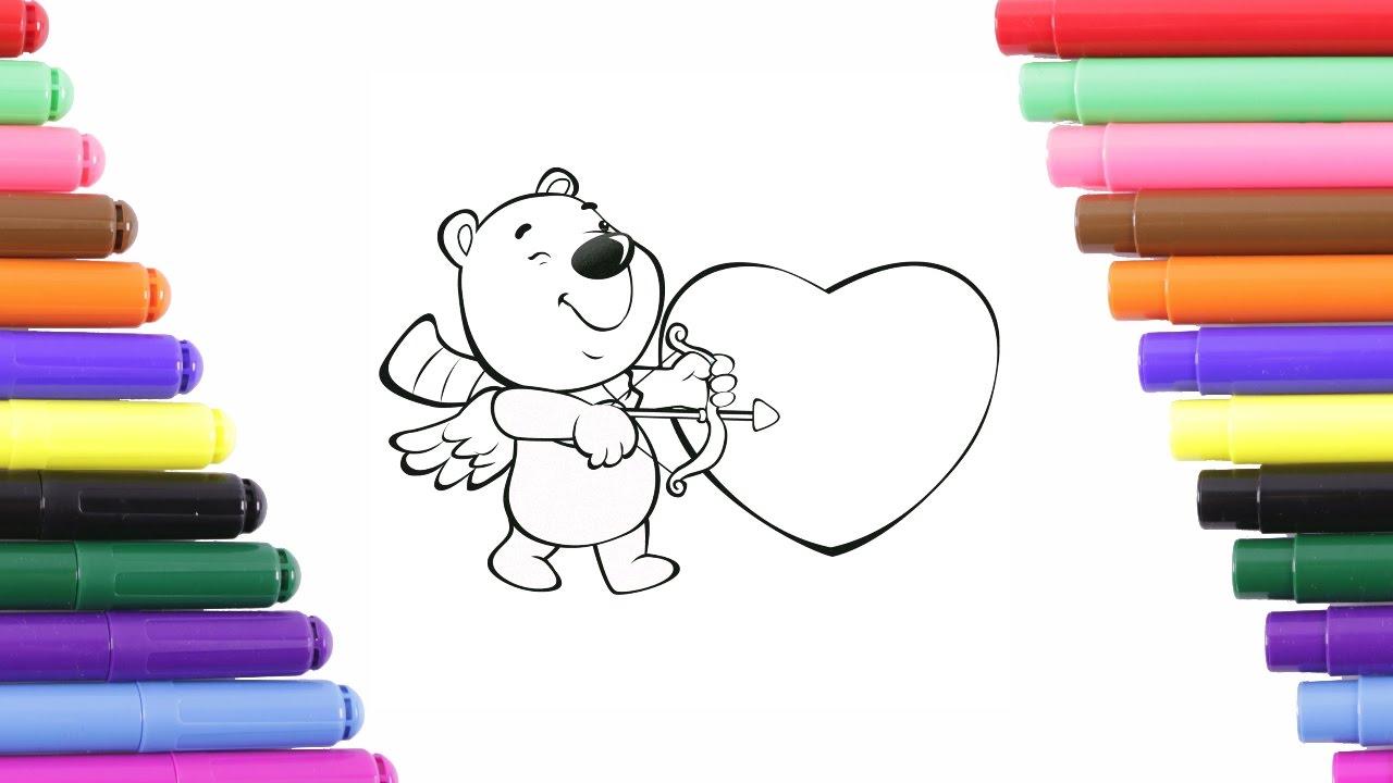 çocuklar Için Ayı Ve Kalp Boyama Sayfası Boyama Kitabı Youtube