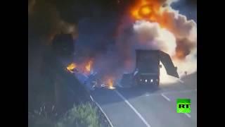 حادث سير مروع على طريق سريع في الصين ولحسن الحظ بلا ضحايا