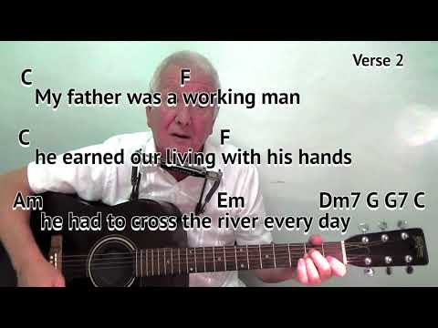 Big River - River Tyne - Jimmy Nail - easy chords guitar lesson with on-screen chords and lyrics
