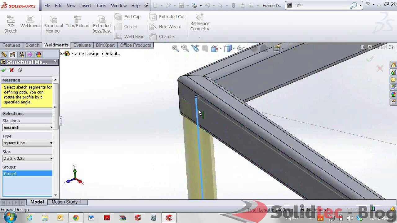 Frame Designs With Solidworks Weldments Youtube